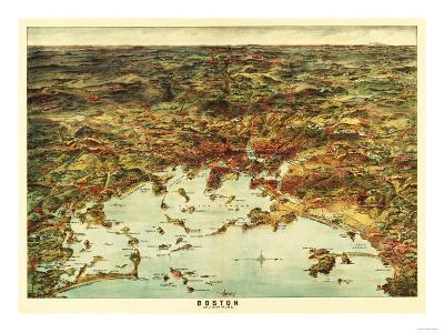 Boston, Massachusetts - Panoramic Map No. 1-Lantern Press-Art Print