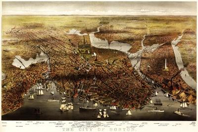Boston, Massachusetts - Panoramic Map-Lantern Press-Stretched Canvas Print