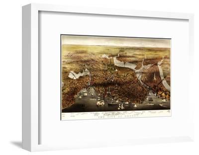 Boston, Massachusetts - Panoramic Map-Lantern Press-Framed Art Print