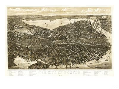 Boston, Massachusetts - Panoramic Map-Lantern Press-Art Print