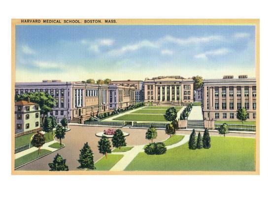 Boston, Massachusetts - Panoramic View of Harvard Medical School and Campus, c.1936-Lantern Press-Art Print