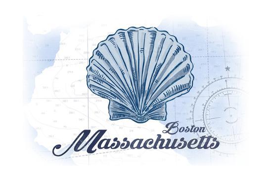 Boston, Massachusetts - Scallop Shell - Blue - Coastal Icon-Lantern Press-Art Print