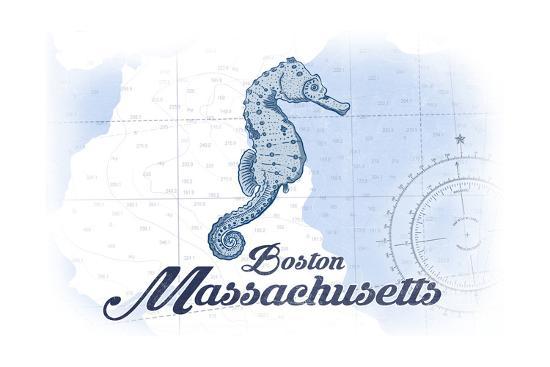 Boston, Massachusetts - Seahorse - Blue - Coastal Icon-Lantern Press-Art Print