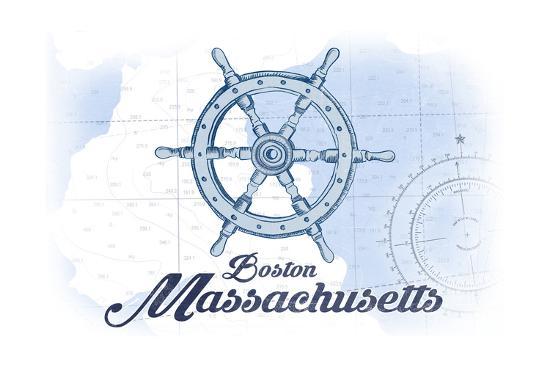 Boston, Massachusetts - Ship Wheel - Blue - Coastal Icon-Lantern Press-Art Print