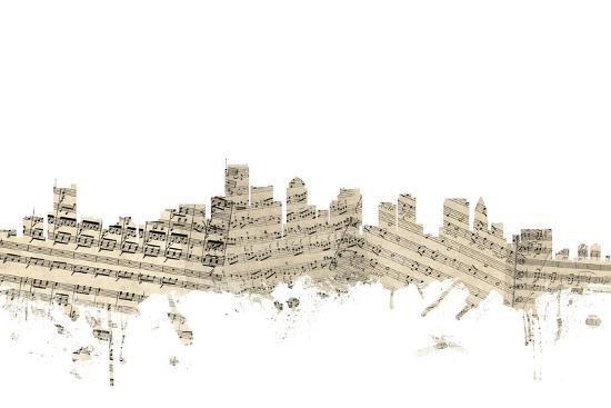 Boston Massachusetts Skyline Sheet Music Cityscape-Michael Tompsett-Art Print
