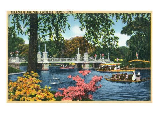 Boston, Massachusetts - View of Swan Boats in the Public Gardens Lake, c.1937-Lantern Press-Art Print