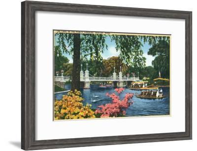 Boston, Massachusetts - View of Swan Boats in the Public Gardens Lake, c.1937-Lantern Press-Framed Art Print