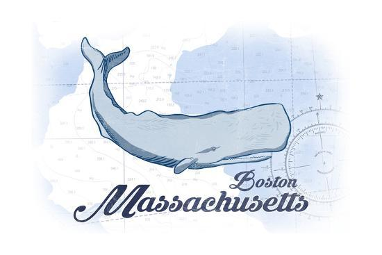 Boston, Massachusetts - Whale - Blue - Coastal Icon-Lantern Press-Art Print