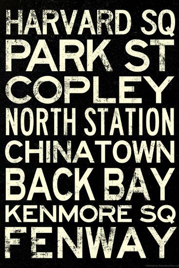 Boston MBTA Stations Vintage Subway RetroMetro Travel Poster Poster by |  Art com