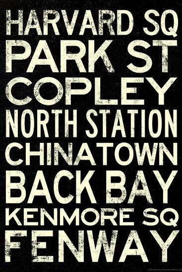 Boston MBTA Stations Vintage Subway Travel Poster--Poster