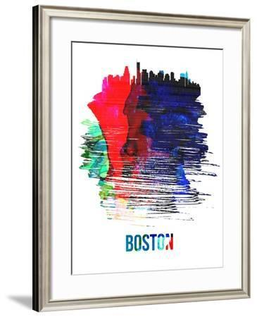 Boston Skyline Brush Stroke - Watercolor-NaxArt-Framed Art Print