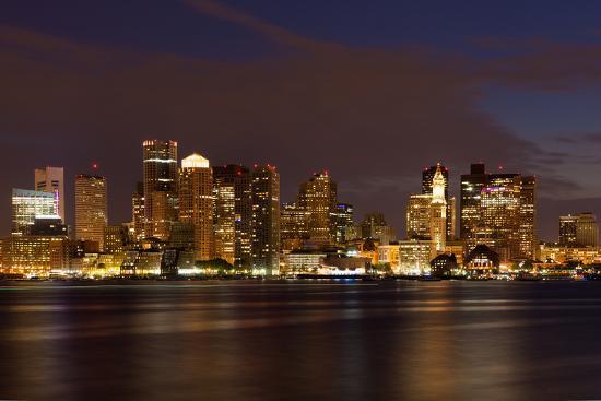 Boston Skyline by Night from East Boston, Massachusetts-Samuel Borges-Photographic Print