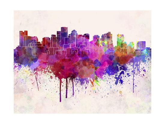 Boston Skyline in Watercolor Background-paulrommer-Art Print