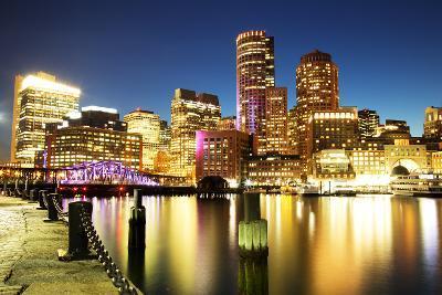 Boston Skyline with Financial District and Boston Harbor-Roman Slavik-Photographic Print