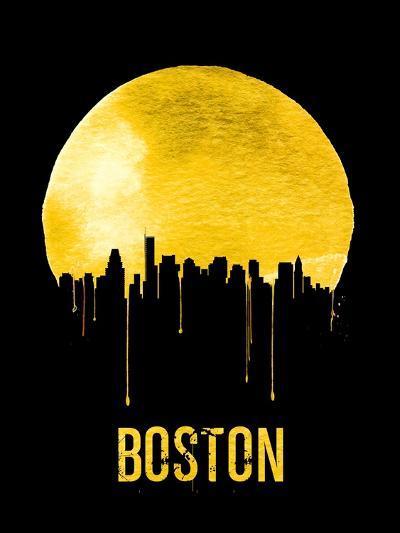 Boston Skyline Yellow--Art Print