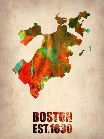 Boston Watercolor Map-NaxArt-Art Print