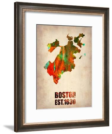 Boston Watercolor Map-NaxArt-Framed Art Print