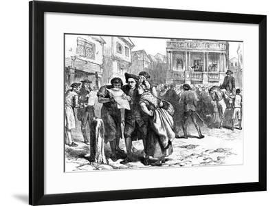 Bostonians Reading the Stamp Act, 1765--Framed Giclee Print