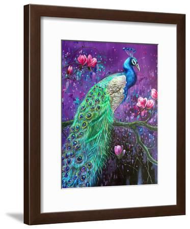 Botanical Peacock 1-Lena Navarro-Framed Art Print