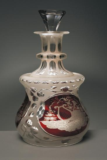 Bottle Decorated with Allegories, 1840, Crystal Glass Encased Acid-Etched Opaline Glass--Giclee Print