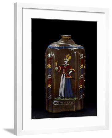 Bottle Decorated with Polychrome Figure, White Glass Italy--Framed Giclee Print