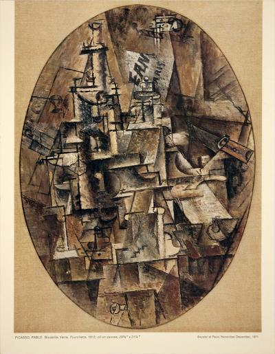 Bottle, Glass, Fork-Pablo Picasso-Art Print