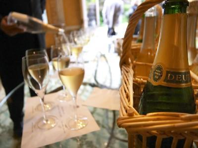 Bottle of Deutz Champagne in Wicker Basket at Champagne Deutz, Ay, Vallee De La Marne-Per Karlsson-Photographic Print