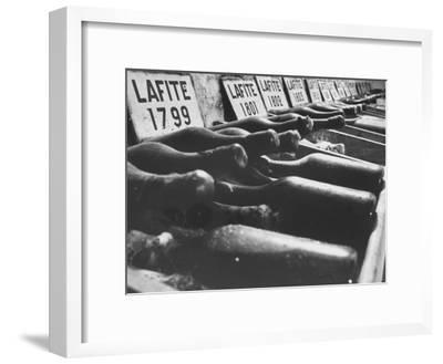 Bottles of Lafite Wines, Now Museum Pieces in French Wine Cellar-Carlo Bavagnoli-Framed Premium Photographic Print