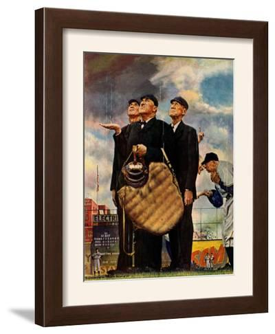"""""""Bottom of the Sixth""""  (Three Umpires), April 23,1949-Norman Rockwell-Framed Giclee Print"""