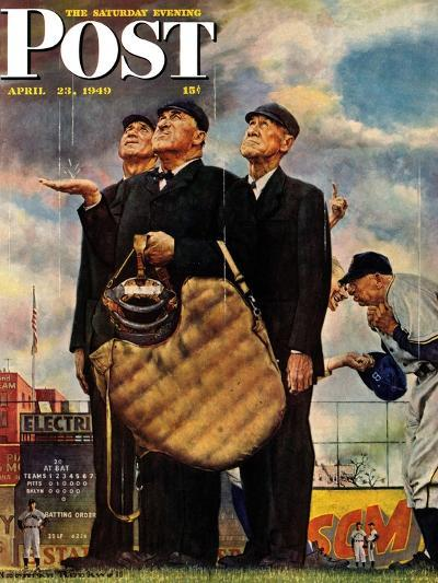 """Bottom of the Sixth""  (Three Umpires) Saturday Evening Post Cover, April 23,1949-Norman Rockwell-Giclee Print"