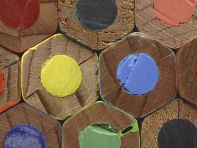Bottoms of Colored Pencils--Photographic Print