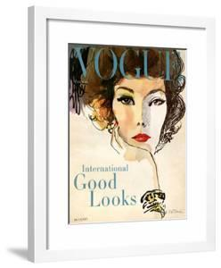 Vogue Cover - March 1958 by Bouch?en?\.