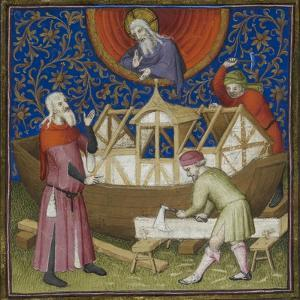 (miniature) the Building Of the Ark. God Watching From Above. Carpenters Working On the Ark by Boucicaut workshop