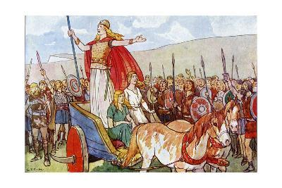Boudicca with Her Two Daughters-George Morrow-Giclee Print