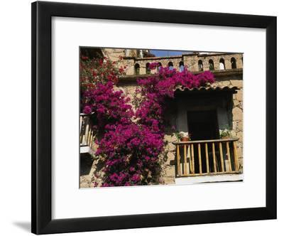 Bougainvillea Flowers on the Balcony of an Old Building in Taxco-Gina Martin-Framed Photographic Print
