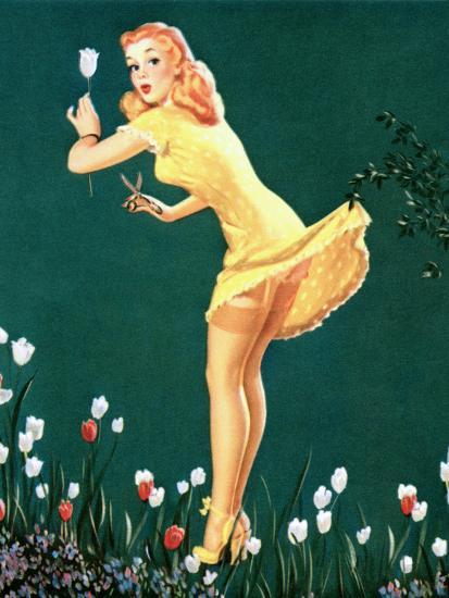 Boughed Beauty Pin-Up Picking Tulips c1940s-Al Leslie-Art Print