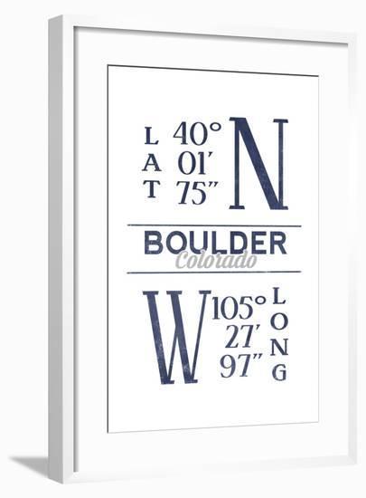Boulder, Colorado - Latitude and Longitude (Blue)-Lantern Press-Framed Art Print