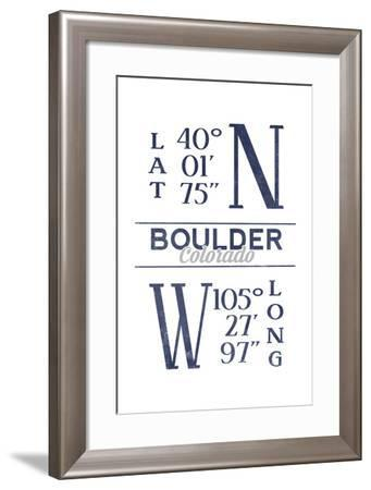 Boulder, Colorado - Latitude and Longitude (Blue)-Lantern Press-Framed Art Print