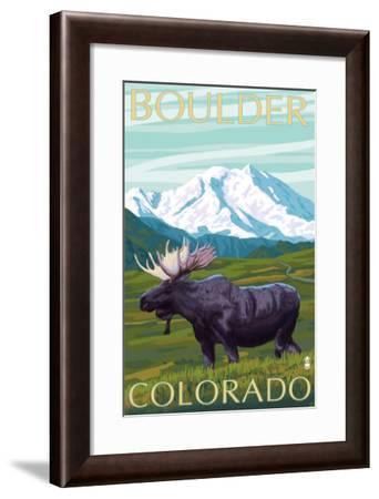Boulder, Colorado, Moose and Mountain-Lantern Press-Framed Art Print