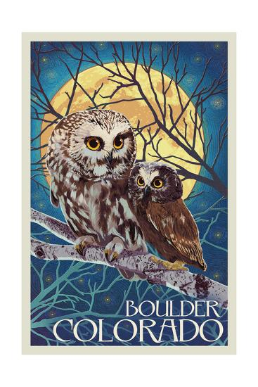 Boulder, Colorado - Owl and Owlet-Lantern Press-Art Print