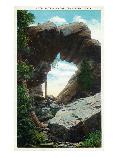 Boulder, Colorado, View of the Royal Arch Rock Formation near Chautauqua-Lantern Press-Art Print