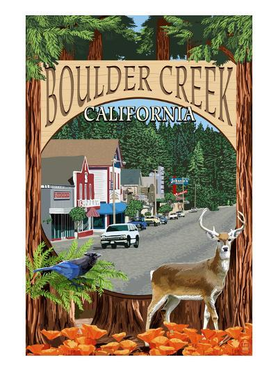 Boulder Creek, California - Montage Scenes-Lantern Press-Art Print