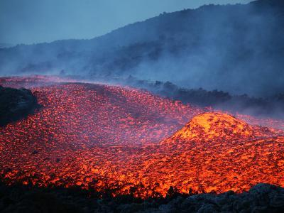 Boulder Rolling in Lava Flow at Dusk During Eruption of Mount Etna Volcano, Sicily, Italy-Stocktrek Images-Photographic Print