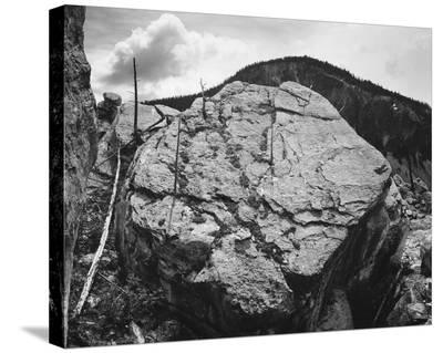 Boulder with hill in background, Rocks at Silver Gate, Yellowstone National Park, Wyoming, ca. 1941-Ansel Adams-Stretched Canvas Print