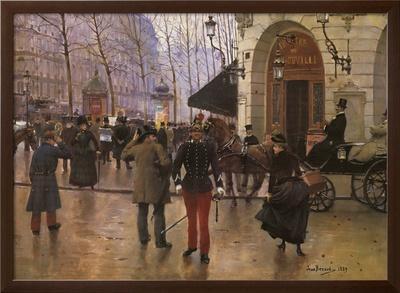 Boulevard des Capucines and The Vaudeville Theatre-Jean B?raud-Framed Textured Art
