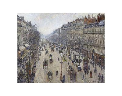 Boulevard Montmartre, Morning, Cloudy Weather, 1897-Camille Pissarro-Art Print