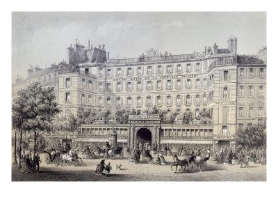 Boulevard Montmartre, Passage Jouffroy and Grand Hotel de la Terrasse Jouffroy, 1865-Charles Riviere-Giclee Print