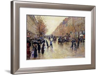 Boulevard Poissoniere in the Rain, circa 1885-Jean B?raud-Framed Giclee Print