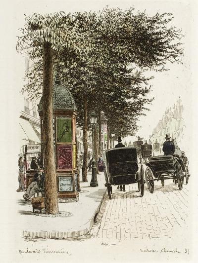 Boulevard Poissonnière: Voitures, Chaussées-Adolphe Martial-Potémont-Giclee Print