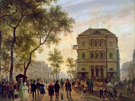 Boulevard Saint-Martin and the Theatre De L'Ambigu, 1830-Guiseppe Canella-Giclee Print